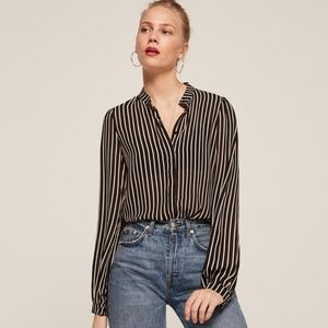 Reformation striped viscose button down NWOT